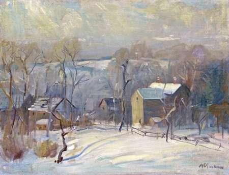 konfigurieren des Kunstdrucks in Wunschgröße Village In Snow von Goodwin, Arthur Clifton