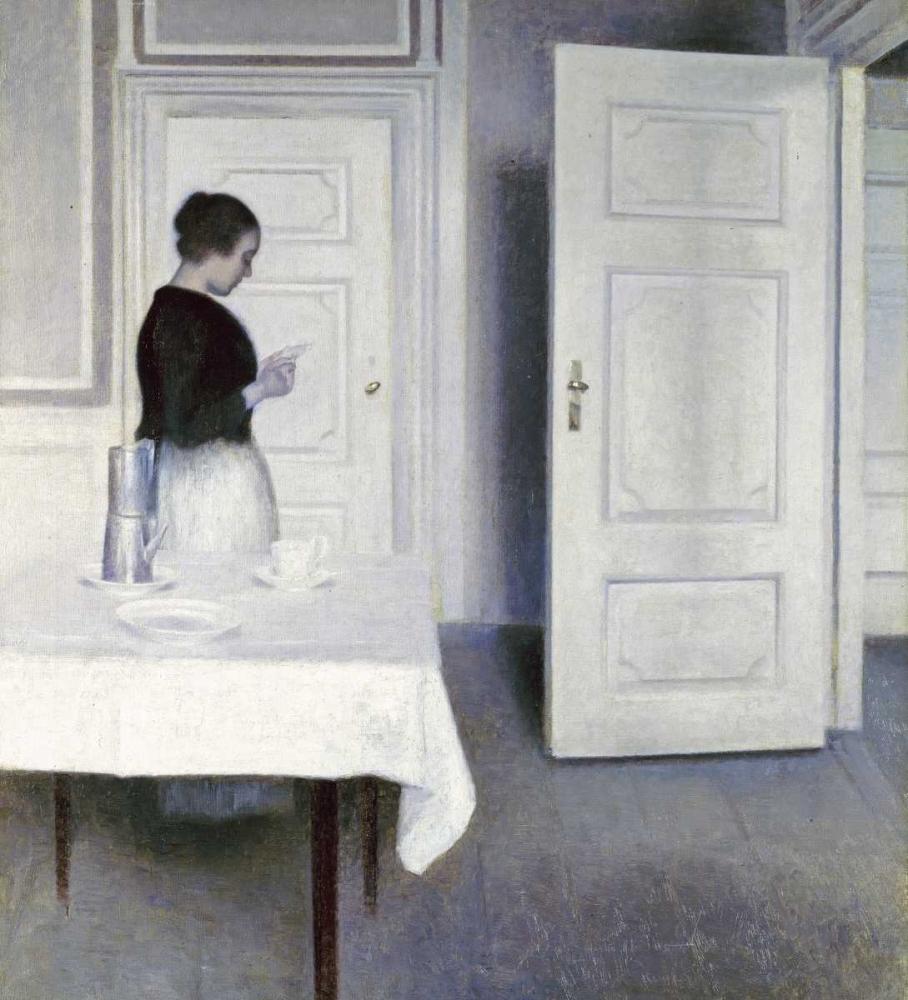 konfigurieren des Kunstdrucks in Wunschgröße Interior With a Woman Reading a Letter von Hammershoi, Vilhelm