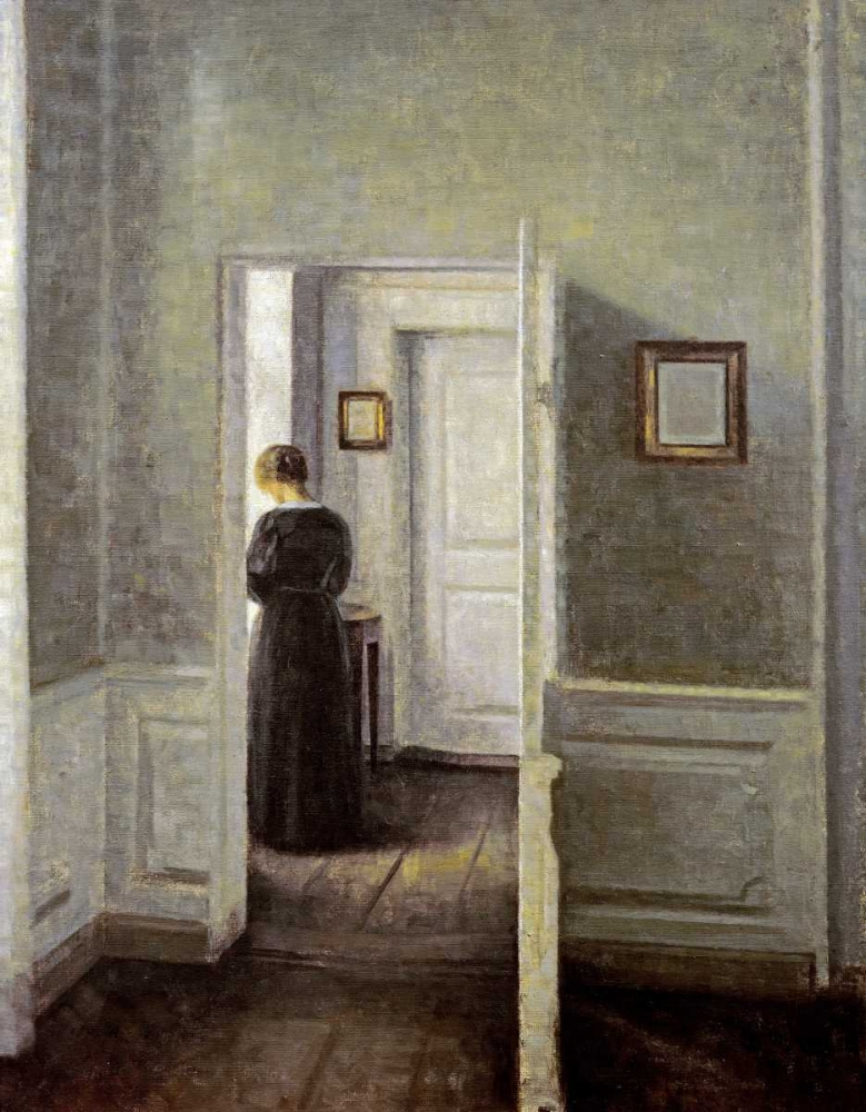 konfigurieren des Kunstdrucks in Wunschgröße An Interior With a Woman von Hammershoi, Vilhelm