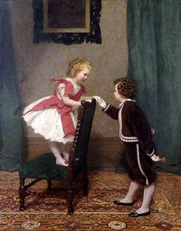 konfigurieren des Kunstdrucks in Wunschgröße Miss Lilys First Flirtation von Hayllar, James