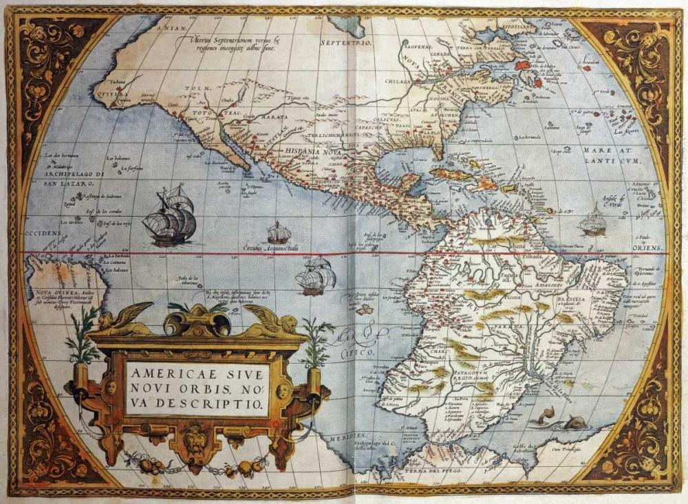 konfigurieren des Kunstdrucks in Wunschgröße Map of America From Theatrum Orbis Terrarum von Ortelius, Abraham