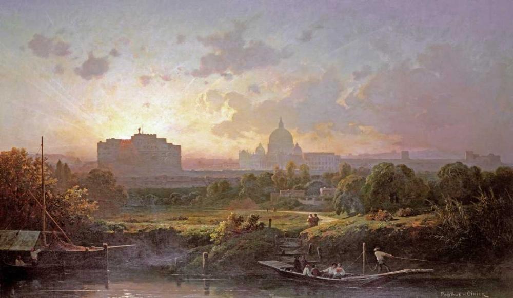 konfigurieren des Kunstdrucks in Wunschgröße View of Rome at Sunset von Einzelbilder