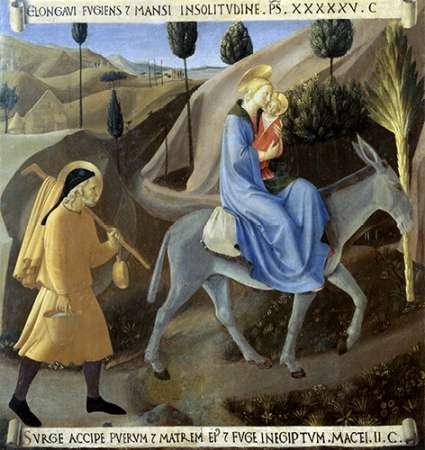 konfigurieren des Kunstdrucks in Wunschgröße Story of The Life of Museumist The Flight To Egypt von Angelico, Fra