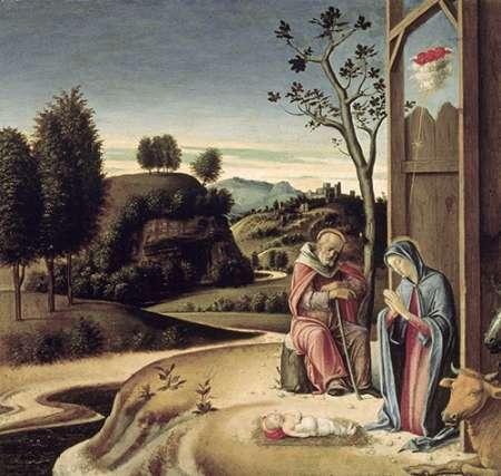 konfigurieren des Kunstdrucks in Wunschgröße Birth of Jesus from the Pala Pesaro von Bellini, Giovanni