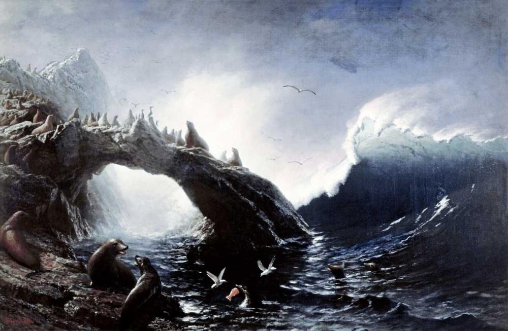 konfigurieren des Kunstdrucks in Wunschgröße Farallon Island von Bierstadt, Albert