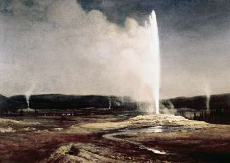 konfigurieren des Kunstdrucks in Wunschgröße Geysers in Yellowstone Park von Bierstadt, Albert