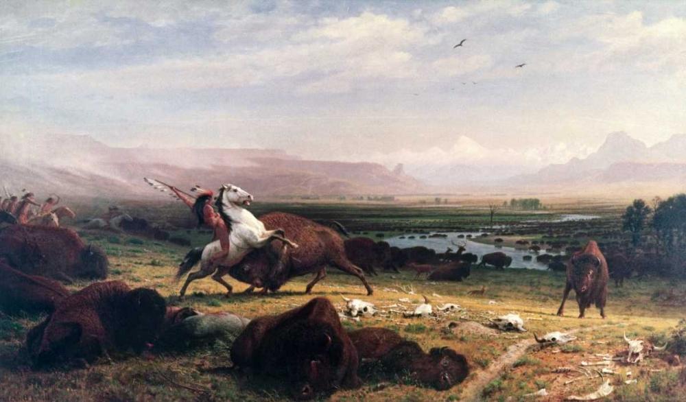 konfigurieren des Kunstdrucks in Wunschgröße Last of the Buffalo von Bierstadt, Albert