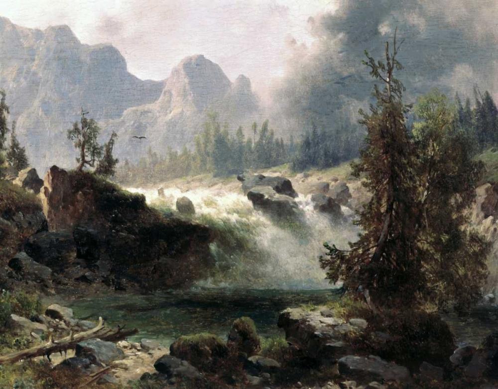 konfigurieren des Kunstdrucks in Wunschgröße Rocky Mountain Stream von Bierstadt, Albert