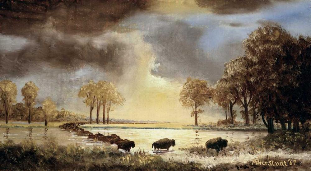 konfigurieren des Kunstdrucks in Wunschgröße The Buffalo Trail, 1867 von Bierstadt, Albert