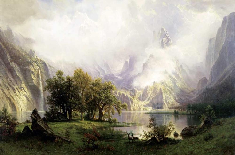 konfigurieren des Kunstdrucks in Wunschgröße View of Rocky Mountains von Bierstadt, Albert