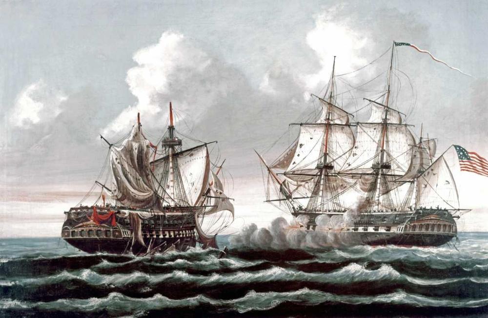 konfigurieren des Kunstdrucks in Wunschgröße U.S.S. Constitution Defeating The British Ship,Guerriere - War of 1812 von Birch, Thomas