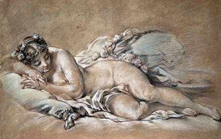konfigurieren des Kunstdrucks in Wunschgröße A Young Girl Sleeping von Boucher, Francois