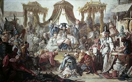 Chinese Curio:Audience of The Chinese Emperor von Boucher, Francois <br> max. 114 x 71cm <br> Preis: ab 10€