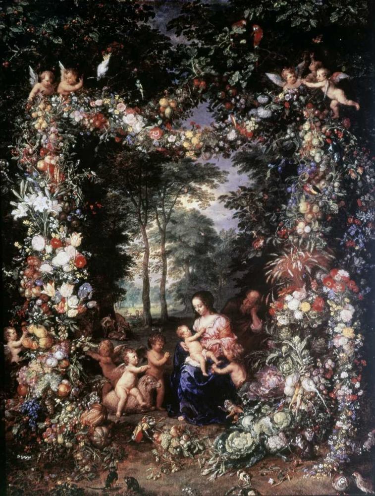 konfigurieren des Kunstdrucks in Wunschgröße Holy Family W/ Wreath of Fruit and Flowers von Jan Brueghel the Elder