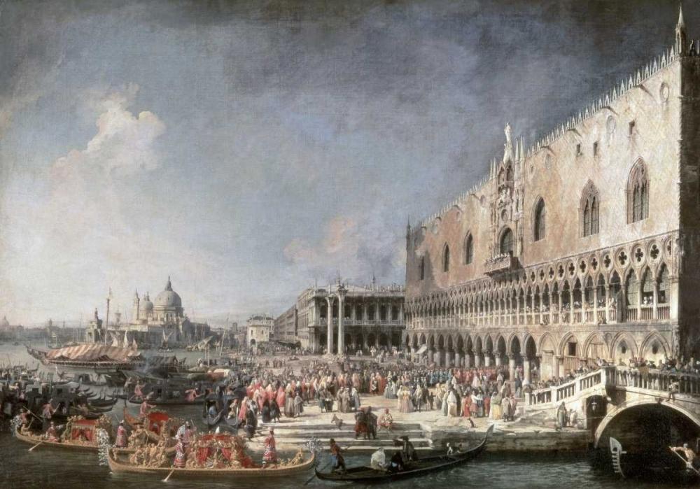 konfigurieren des Kunstdrucks in Wunschgröße Reception of French Ambassador In Venice von Canaletto