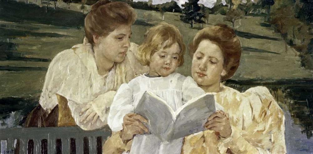 konfigurieren des Kunstdrucks in Wunschgröße Family Group Reading von Cassatt, Mary