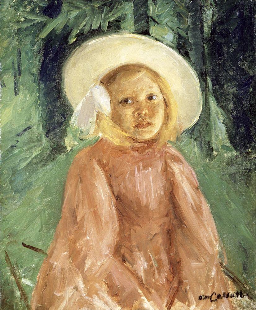 konfigurieren des Kunstdrucks in Wunschgröße Little Girl in a Currant Colored Dress von Cassatt, Mary