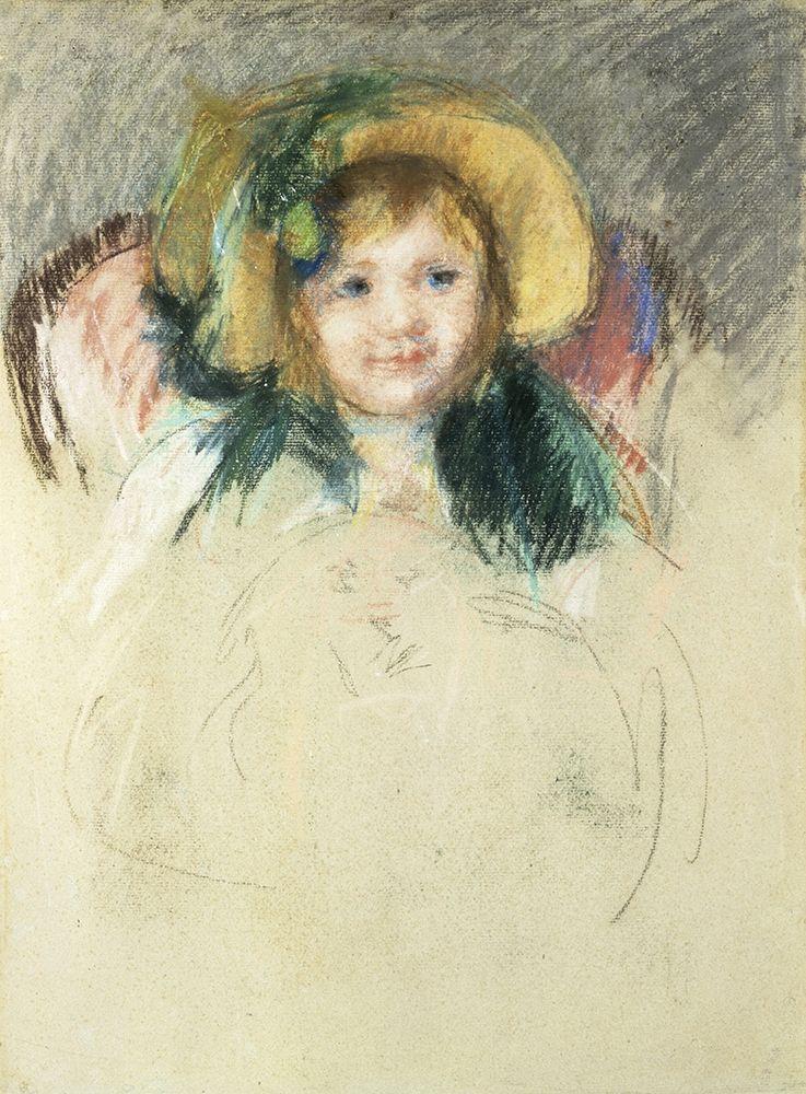 konfigurieren des Kunstdrucks in Wunschgröße Sara in a Bonnet with a Plum Hanging Down von Cassatt, Mary