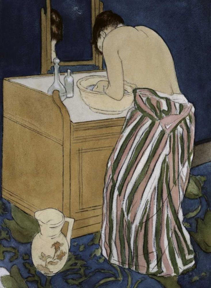konfigurieren des Kunstdrucks in Wunschgröße Woman Bathing von Cassatt, Mary