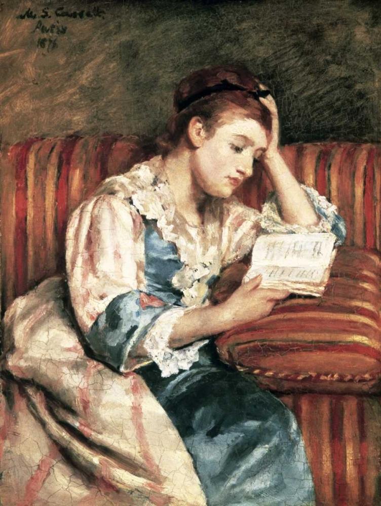 konfigurieren des Kunstdrucks in Wunschgröße Young Woman Reading von Cassatt, Mary