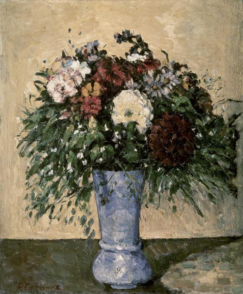 konfigurieren des Kunstdrucks in Wunschgröße Bouquet In a Blue Vase von Cezanne, Paul