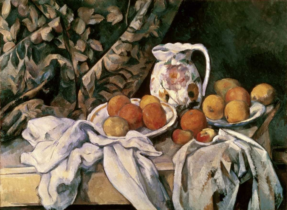 Curtain, Carafe and Fruit von Cezanne, Paul <br> max. 104 x 76cm <br> Preis: ab 10€