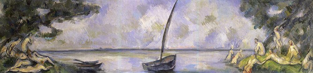 konfigurieren des Kunstdrucks in Wunschgröße The Bathers and The Barge von Cezanne, Paul