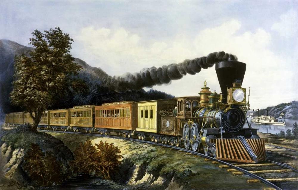 konfigurieren des Kunstdrucks in Wunschgröße American Express Train von Currier and Ives