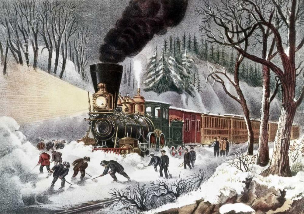 konfigurieren des Kunstdrucks in Wunschgröße American Railroad Scene von Currier and Ives