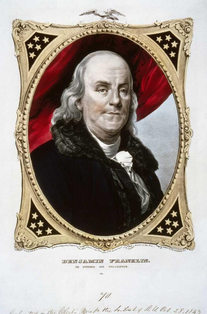 konfigurieren des Kunstdrucks in Wunschgröße Benjamin Franklin von Currier and Ives