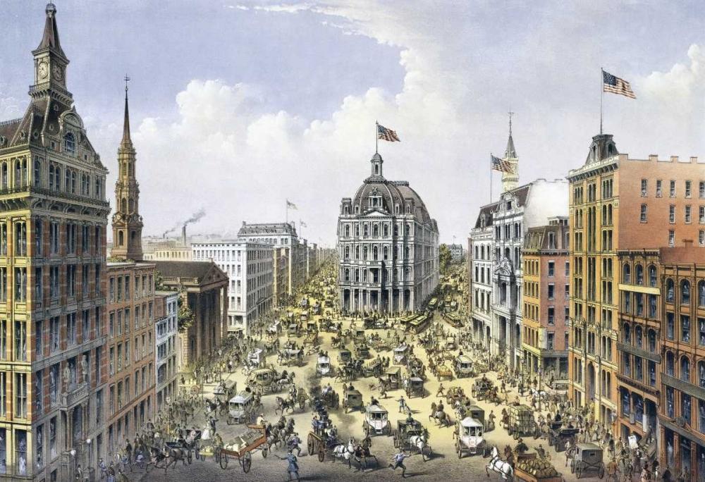 konfigurieren des Kunstdrucks in Wunschgröße Broadway New York von Currier and Ives