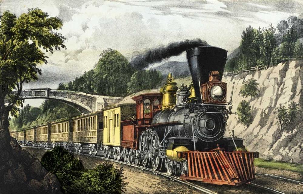 konfigurieren des Kunstdrucks in Wunschgröße Express Train von Currier and Ives