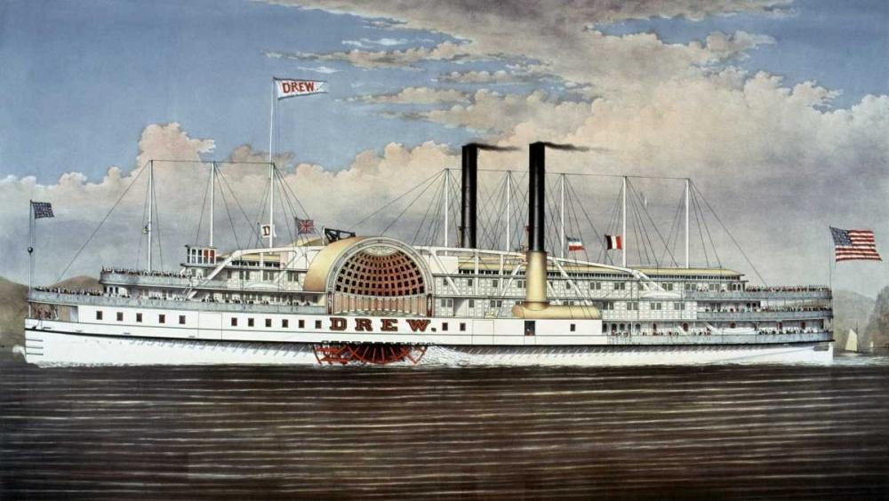konfigurieren des Kunstdrucks in Wunschgröße Peoples Line - Hudson River, The Palace Steamers of The World von Currier and Ives
