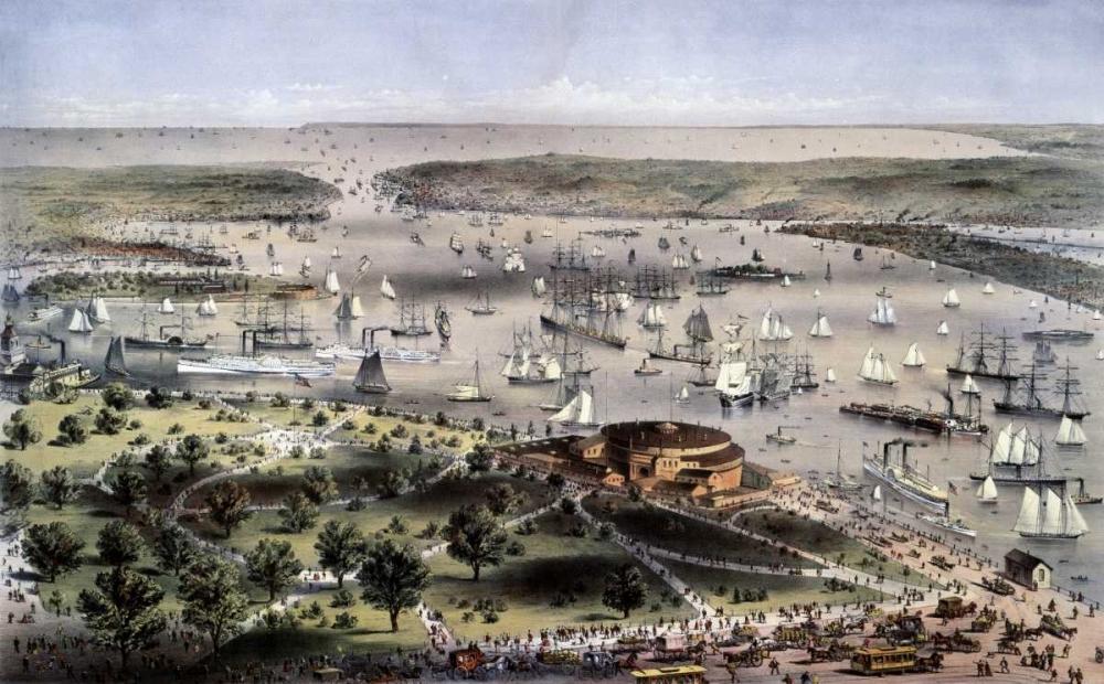 konfigurieren des Kunstdrucks in Wunschgröße Port of New York Birds Eye View From The Battery, Looking South von Currier and Ives