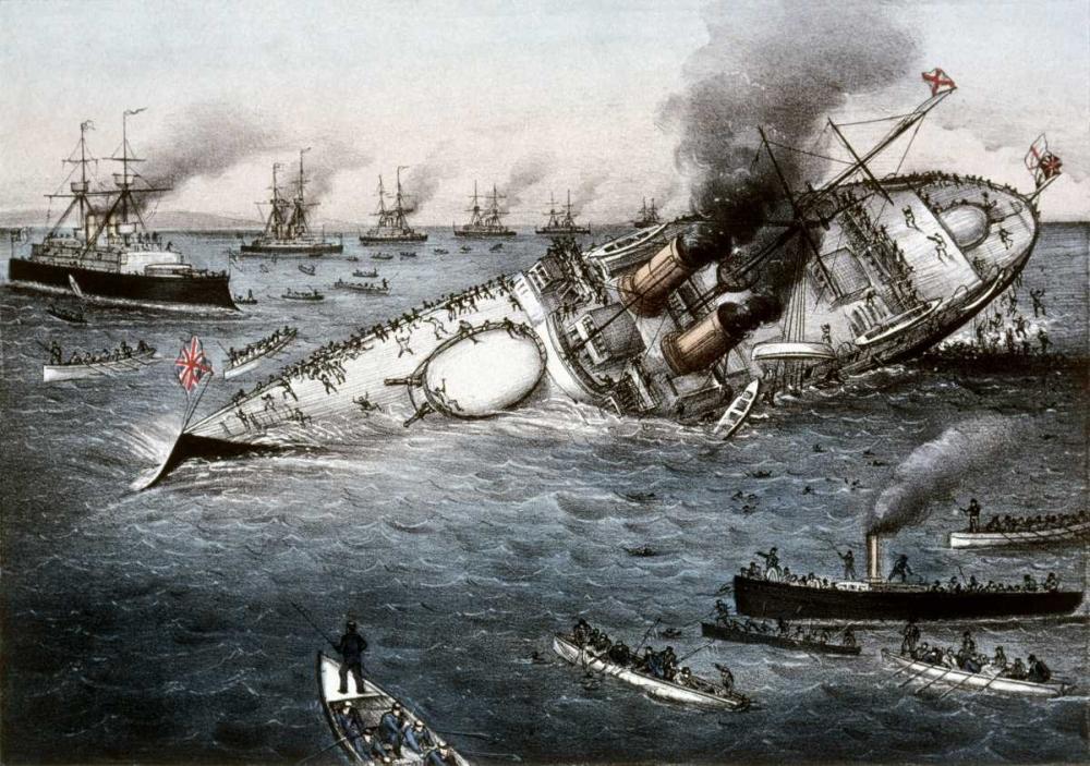 konfigurieren des Kunstdrucks in Wunschgröße Sinking of The Battleship Victoria Off Tripoli,Syria, June 22, 1893 von Currier and Ives