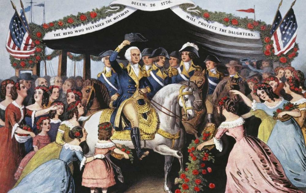 konfigurieren des Kunstdrucks in Wunschgröße Washingtons Reception, On The Bridge Trenton von Currier and Ives