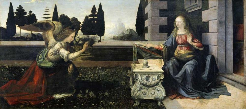 konfigurieren des Kunstdrucks in Wunschgröße Annunciation von Da Vinci, Leonardo