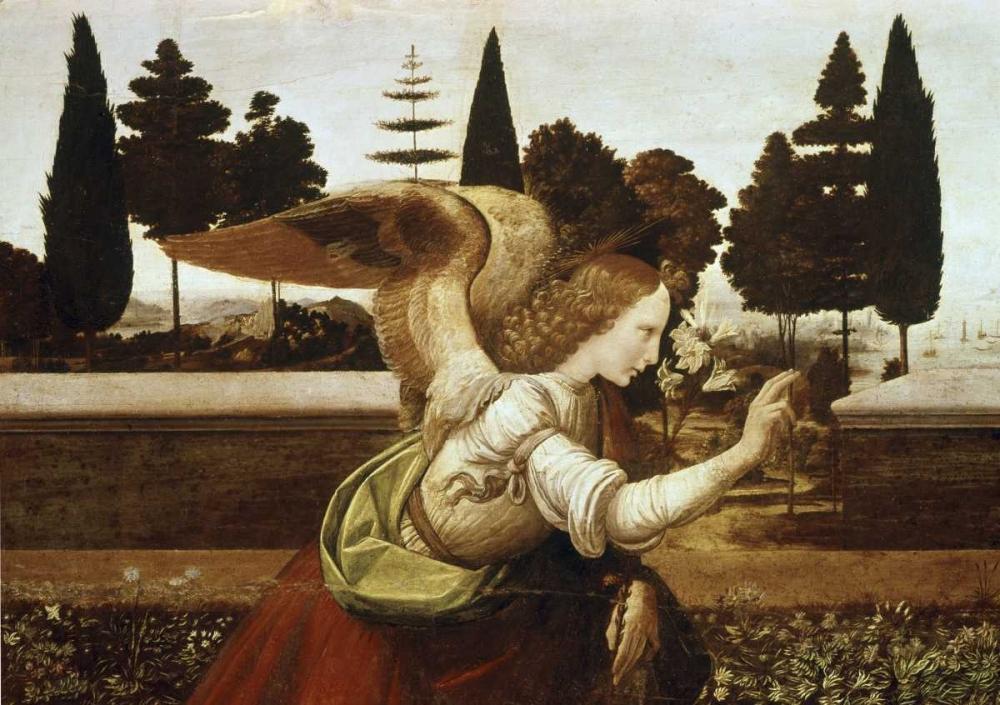 konfigurieren des Kunstdrucks in Wunschgröße Annunciation - Detail von Da Vinci, Leonardo