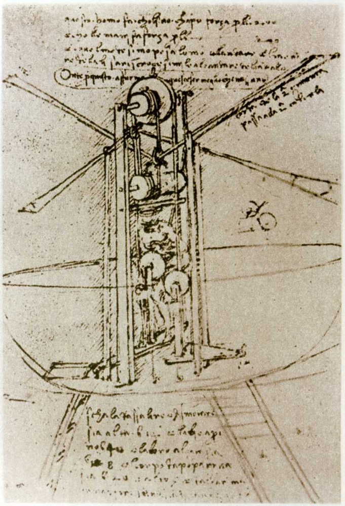 Drawing of a Flying Machine von Da Vinci, Leonardo <br> max. 76 x 112cm <br> Preis: ab 10€