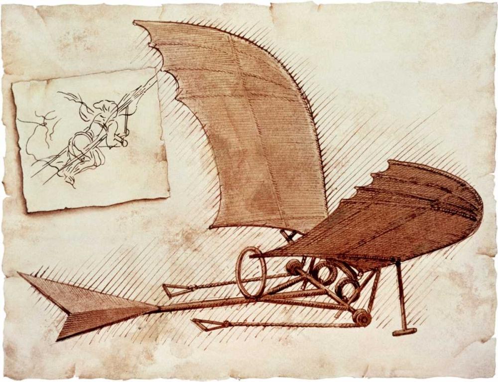 konfigurieren des Kunstdrucks in Wunschgröße Flying Machine von Da Vinci, Leonardo