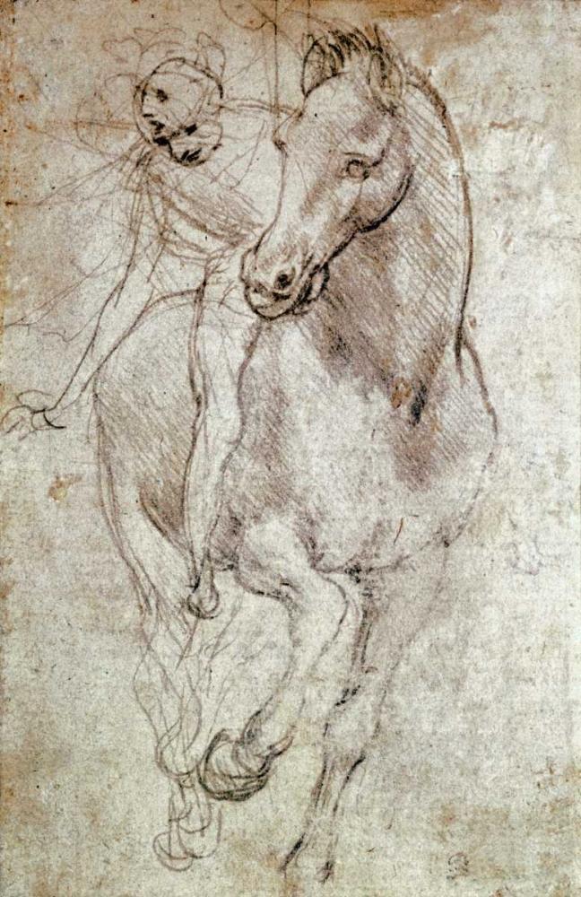 konfigurieren des Kunstdrucks in Wunschgröße Horse and Rider von Da Vinci, Leonardo