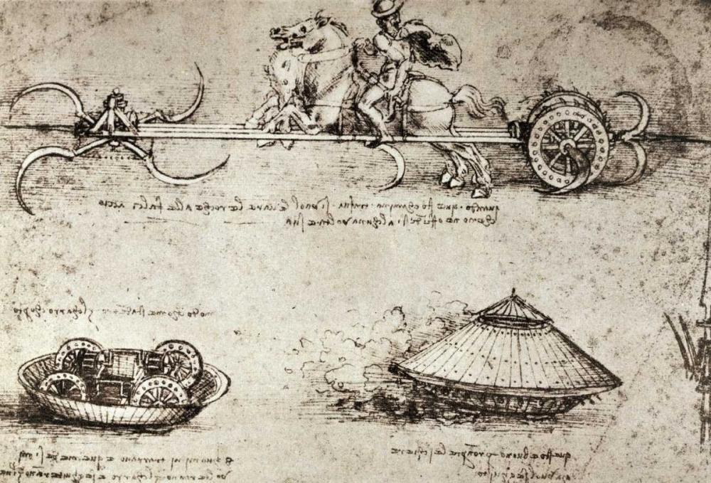 konfigurieren des Kunstdrucks in Wunschgröße Military Inventions Sketches von Da Vinci, Leonardo