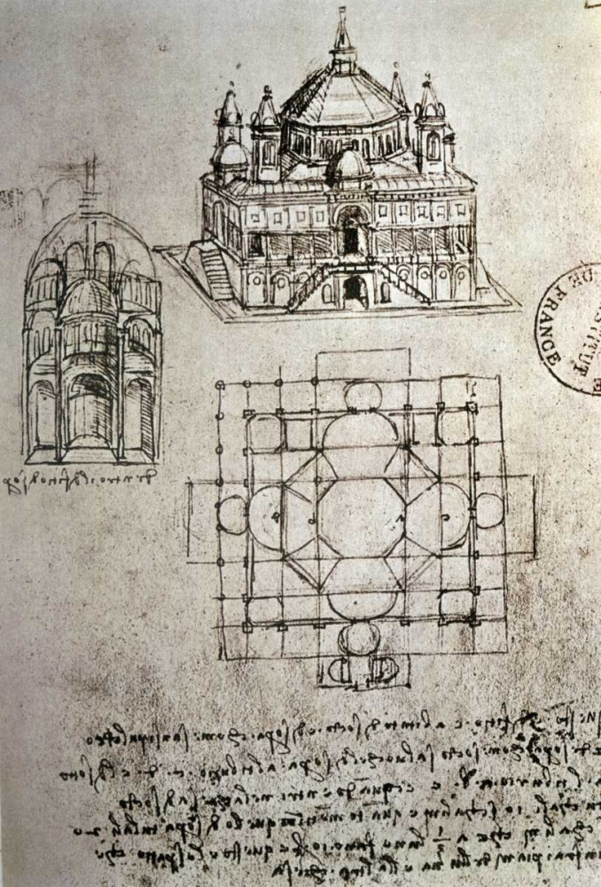 Sketch of a Square Church with Central Dome and Minaret von Da Vinci, Leonardo <br> max. 71 x 107cm <br> Preis: ab 10€