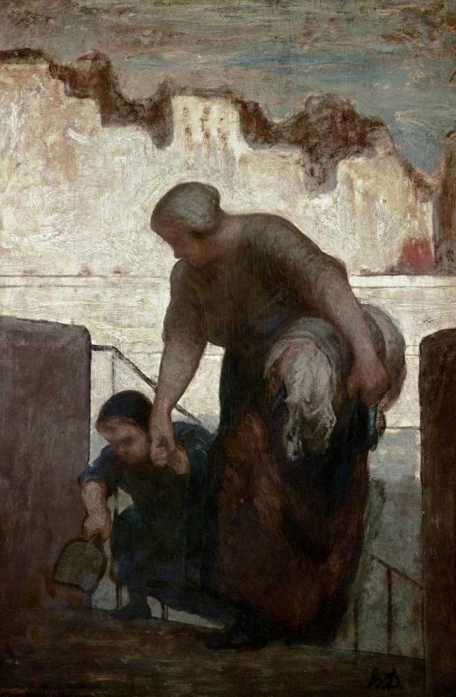 konfigurieren des Kunstdrucks in Wunschgröße Laundress von Daumier, Honore