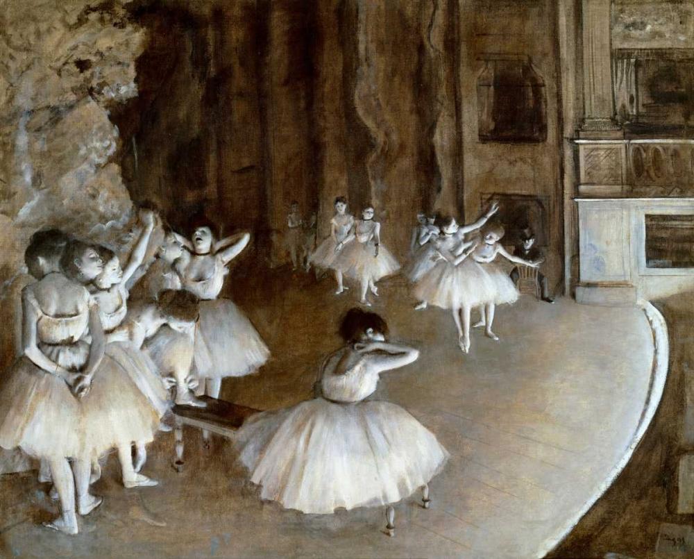 konfigurieren des Kunstdrucks in Wunschgröße Ballet Rehearsal on the Set, 1874 von Degas, Edgar