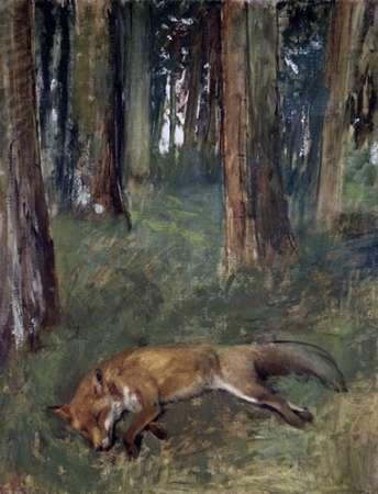 konfigurieren des Kunstdrucks in Wunschgröße Dead Fox Under the Trees von Degas, Edgar
