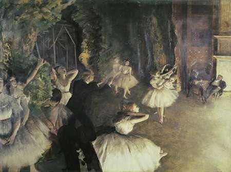 konfigurieren des Kunstdrucks in Wunschgröße Rehearsal of the Ballet on Stage von Degas, Edgar