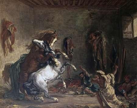konfigurieren des Kunstdrucks in Wunschgröße Arabian Horses Fighting In a Stable von Delacroix, Eugene