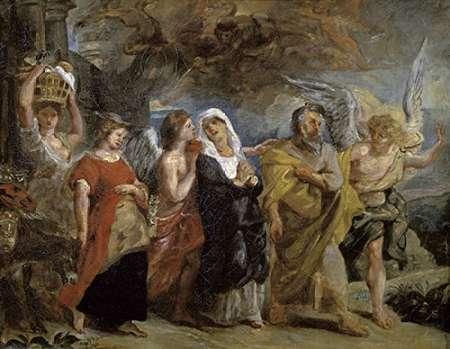 konfigurieren des Kunstdrucks in Wunschgröße Copy After 'The Flight of Lot' By Rubens von Delacroix, Eugene