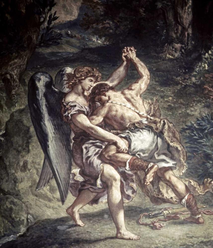 konfigurieren des Kunstdrucks in Wunschgröße Jacob Wrestles With The Angel von Delacroix, Eugene
